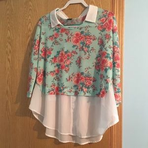 Deb floral collared blouse